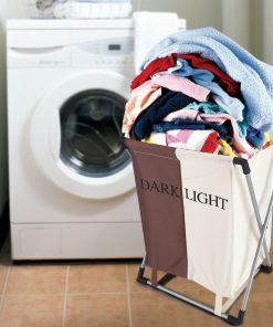 Tbest Household Folding Laundry Basket 2 Sections Washing Clothes Organizer Storage Bag, Foldable Laundry Basket, Laundry Folding Basket