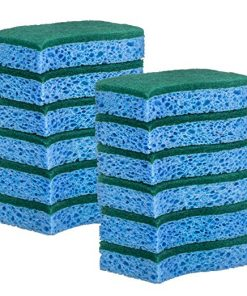 Elite Selection S-Shape Scrub Sponges – Non-Scratch Kitchen Sponges – Heavy Duty Cellulose Scrubbing Sponges for Kitchens, Bathrooms, Housework, and More – [Blue] – 12 Pack