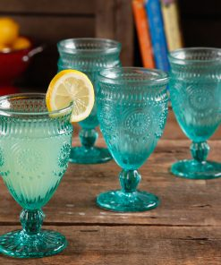 The Pioneer Woman Adeline 12-Ounce Footed Glass Goblets, Set of 4, Tuquoise