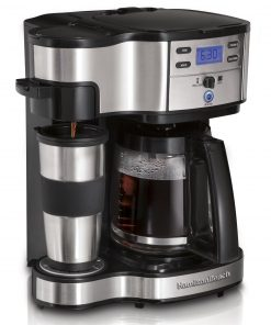 Hamilton Beach 2-Way Brewer 49980A, Single Serve Coffee Maker and Full 12 Cup Coffee Pot, Stainless Steel, Programmable