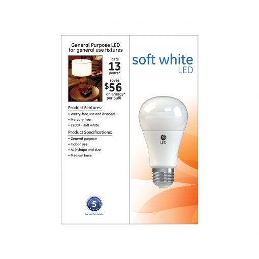 GE LED 6W (40W Equivalent) Soft White A19 General Purpose Light Bulbs, Medium Base, Dimmable, 4pk