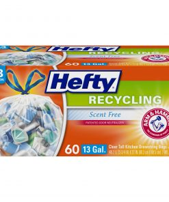 Hefty Tall Kitchen Recycling Bags, Clear, 13 Gallon, 60 Count