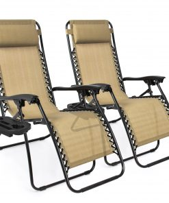 Best Choice Products Set of 2 Adjustable Zero Gravity Lounge Chair Recliners for Patio, Pool w/ Cup Holders – Beige