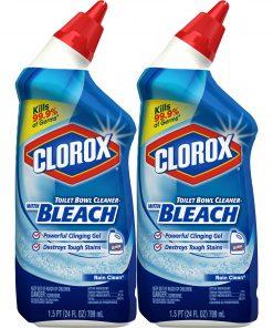 Clorox Toilet Bowl Cleaner with Bleach, Rain Clean – 24 Ounces, 2 Pack