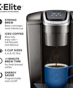 Keurig K-Elite, Single Serve K-Cup Pod Coffee Maker, Brushed Slate