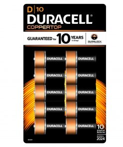 Duracell Coppertop Alkaline Batteries, D, 10 Ct