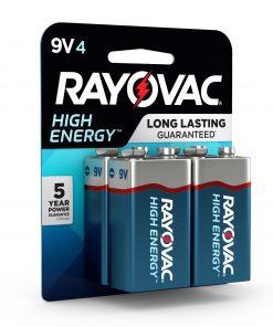Rayovac High Energy Alkaline, 9V Batteries, 4 Count