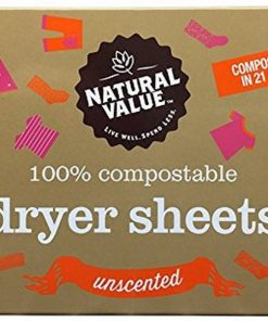 Natural Value Dryer Sheets 80ct – UNSCENTED / Case / 6ct
