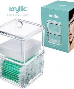 Kryllic Clear Acrylic Cotton Ball & Swab Storage Case – Organizer For Cotton Swabs, Q-Tips, Make Up Pads, Cosmetics & More – For Bathroom & Vanity