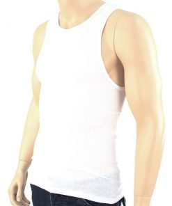 3 Mens Slim Muscle Tank Top T-Shirt Ribbed Sleeveless Gym Fashion A-Shirt White