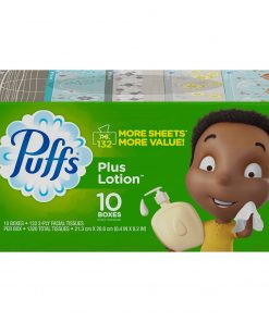 Puffs Plus Lotion Facial Tissues, 10 Family Boxes (132 tissues per box)