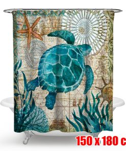 4Pcs Bathroom Set Non-Slip Pedestal Rug + Lid Toilet Seat Cover + Bath Mat Doormat + Waterproof Shower Curtain + 10 Hooks Sea Turtles Style