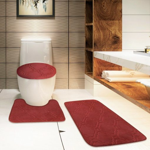 S 3Pc BURGUNDY Bathroom Set Bath Mat RUG, Contour, and Toilet Lid Cover, with Rubber Backing#6