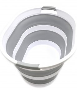 SAMMART Set of 2 Collapsible Plastic Laundry Basket – Oval Tub / Basket – Foldable Storage Container / Organizer – Portable Washing Tub – Space Saving Laundry Hamper