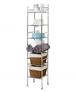 Honey-Can-Do 6-Tier Bathroom Storage Shelving Unit, Chrome