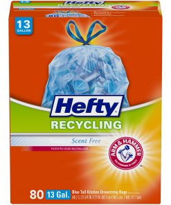 Hefty® Recycling Scent Free 13 Gallon Blue Tall Kitchen Drawstring Bags 80 ct Box