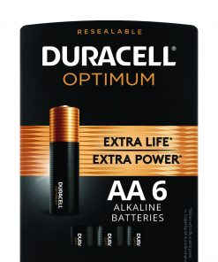 Duracell Optimum 1.5V Alkaline AA Batteries, Convenient Resealable Package, 6 Pack
