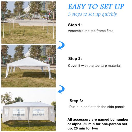 Beach Tents for Outside, 10′ x 20′ Heavy Duty Outdoor Canopy Party Tent with 4 Sidewalls, Portable Folding Wedding Canopy Tent, Waterproof Patio Gazebo Tent, Easy Set-Up Sunshade Shelter, L2201