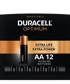 Duracell Optimum 1.5V Alkaline AA Batteries, Convenient Resealable Package, 12 Pack