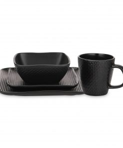 Stone Lain 32 Piece Stoneware Square Weave Dinnerware set, Black