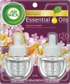 Air Wick Plug in Refill, 2ct, Summer Delights, Scented Oil, Air Freshener, Essential Oils