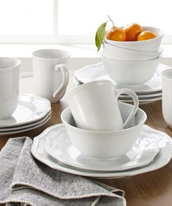 Better Homes & Gardens 16-Piece Carnaby Scalloped Dinnerware Set, White