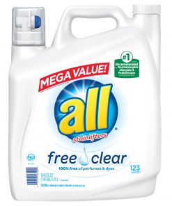 all Free Clear For Sensitive Skin, 123 Loads, Liquid Laundry Detergent , 184.5 fl oz
