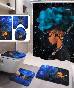 4PCs Waterproof Shower Curtain Set African Girl with 10 Hooks +Non-Slip Pedestal Rug + Lid Toilet Cover + Bathroom Bath Mat Doormat Set for Home Kitchen Decor