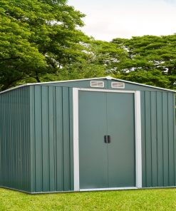 Ainfox 8′ x 10′ Steel Storage Shed, Utility for Outdoor Garden Backyard Lawn Warm (Green)
