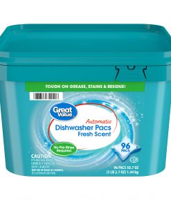 Great Value Automatic Dishwasher Pacs, Fresh Scent, 96 Count