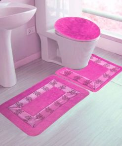 3PC #5 HOT PINK BANDED BATHROOM SET BATH MAT COUNTOUR RUG LID COVER PLAIN SOLID COLORS