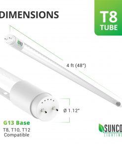 Sunco Lighting 4FT T8 LED Tube, 18W (40W) Fluorescent, Clear Cover, 5000K Daylight, Single Ended Power (SEP), Ballast Bypass, Commercial Grade – 10 Pack