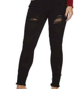 Cute Trendy Stone Washed Torn Ripped Distressed Skinny Jeans Black Denim Juniors Size 11