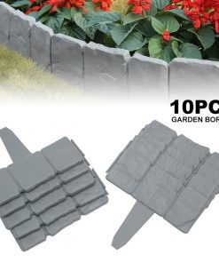 10pcs Garden Fence Grey Stone Effect Lawn Edging Plant Bordering Cobblestone Yard Border
