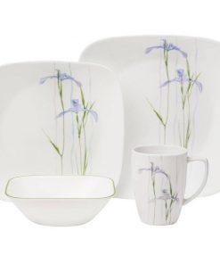 Corelle Square Shadow Iris 16-Piece Dinnerware Set