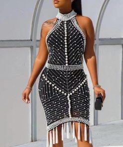 Bandage Dress Vestido 2020 Woman Black Sexy Halter Bodycon Bandage Dress Sleeveless Beading Dress Summer Party Bandage