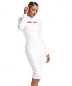 Women Long Sleeve Bandage Dress New Arrival White Party Bandage Dress Bodycon Sexy Cut Out Banage Dres Knee Length