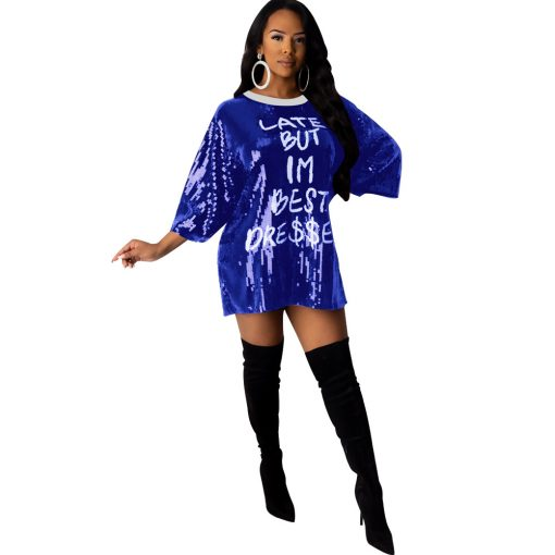 2020 Spring Letter Sequins Loose Casual Mini Dress Women O Neck Half Sleeve Night Club T Shirt Dresses Female Clothes