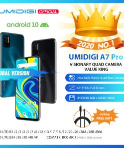UMIDIGI A7 Pro Quad Camera Andriod 10 OS 6.3″ FHD+ Full Screen 64GB/128GB ROM LPDDR4X Octa Core Processor Global Version Phone
