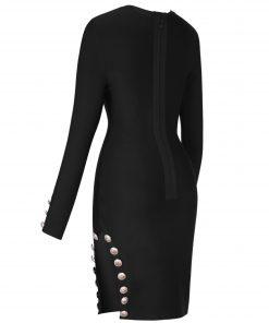 2020 Winter Black Bandage Dress Long Sleeve Sexy Bandage Dress Plus Size Studded Bodycon Party Dress