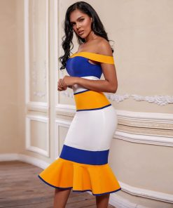2020 New Arrivals Bandage Dresses Off Shoulder Celebrity Bandage Dresses Yellow Midi Bodycon Mermaid Party Dresses