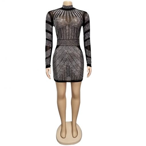 2021 Sexy Sparkly Silver Diamonds Sheer Mesh Night Club Mini Dress  Neck LongSleeve Bodycon Party Dresses Women Fashion Outfits