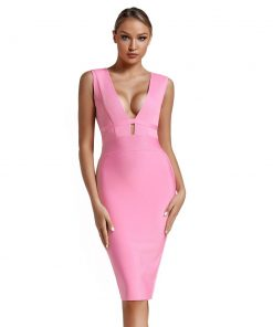 2020 Bandage Dress Evening Party Dress Summer Women Pink Bandage Dress Mini Club Cut Out Sexy Bodycon Dress