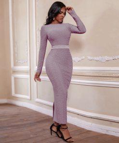 Bandage Dress Long Sleeve 2020 Women Beaded Maxi Long Bandage Dress Bodycon Celebrity Evening Club Party Dress
