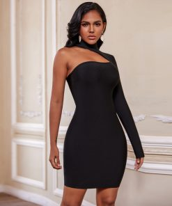Christmas Winter 2020 Bandage Dresses for Women Sexy Cut Out Black Bandage Dress Long Seeve Bodycon Club Party Dress