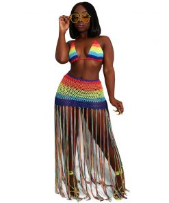 Women Sexy Crop Top And Dress Two Pieces Set Rainbow Striped Mesh Patchwork Beach Set Casual Halter Collar Tassel Dress