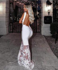 High Fashion 2020 New Women White Bandage Dress Sexy Backless Maxi Bandage Dress Long Bodycon Lace Evening Party Dress