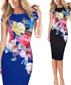 2020 Fashion Summer Women Pack Hip Dresses Elegant Slim Short Sleeve Floral Print bridesmaid Mother of Bride Party S-5XL Dress
