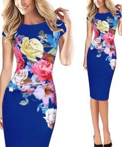 2020 Fashion Summer Women Pack Hip Dresses Elegant Slim Short Sleeve Floral Print bridesmaid Mother of Bride Party S-5XL Dress