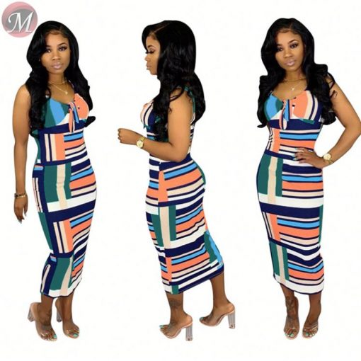 Summer casual lady sleeveless camisole pencil bodycon stripe long midi dress